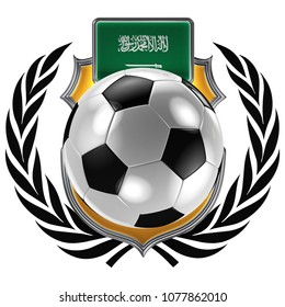 3D illustration of a soccer crest with the Saudi Arabian flag and a soccer ball
