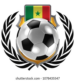 3D illustration of a soccer crest with the Senegalese flag and a soccer ball