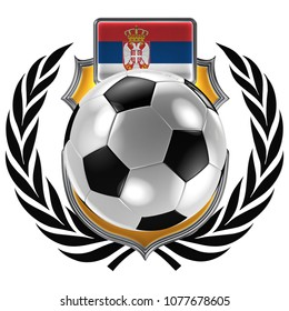 3D illustration of a soccer crest with the Serbian flag and a soccer ball
