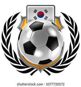 3D illustration of a soccer crest with the South Korean flag and a soccer ball