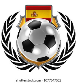 3D illustration of a soccer crest with the Spanish flag and a soccer ball