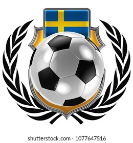 3D illustration of a soccer crest with the Swedish flag and a soccer ball