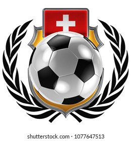 3D illustration of a soccer crest with the Swiss flag and a soccer ball