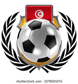 3D illustration of a soccer crest with the Tunisian flag and a soccer ball