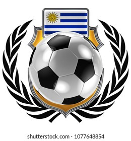 3D illustration of a soccer crest with the Uruguayan flag and a soccer ball