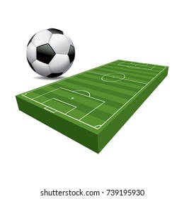 A 3D illustration of a soccer football field and ball with green grass and turf isolated on a white background illustration.