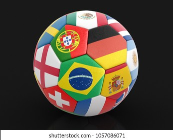 3d illustration. Soccer football with flags. Image with clipping path