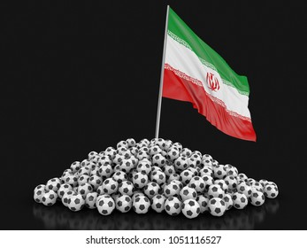 3d illustration. Soccer football with Iranian flag. Image with clipping path
