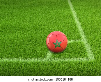 3d illustration. Soccer football with Moroccan flag