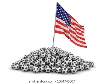3d illustration. Soccer football with USA flag. Image with clipping path