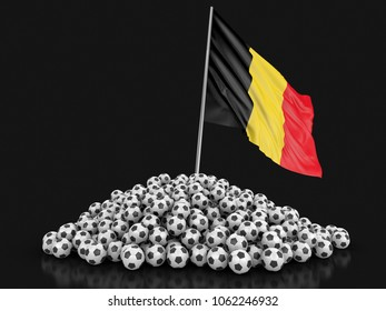 3d illustration. Soccer footballs with Belgian flag. Image with clipping path
