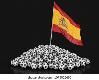 3d Illustration. Soccer footballs with Spanish flag. Image with clipping path