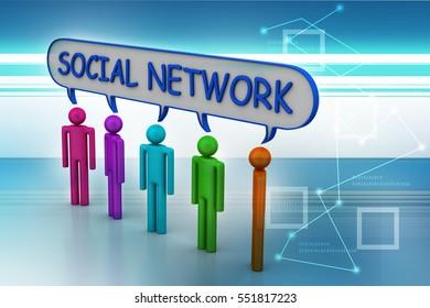 3D illustration of Social network concept