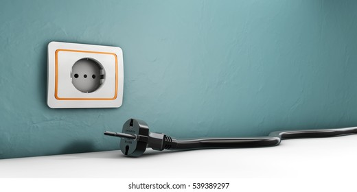 3d Illustration of Socket and Power cable plugged on white background