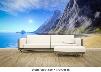 3D illustration of a sofa in front of a photo wall mural ocean