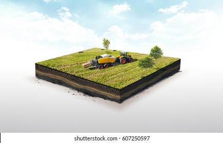 3d illustration of a soil slice, Collection of straw by a combine harvester in bales isolated on white background