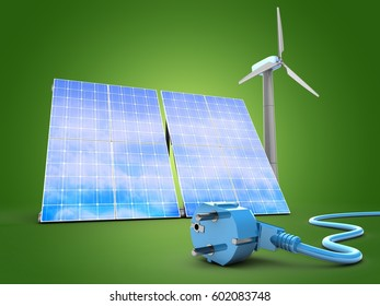 3d illustration of solar and wind energy over green background with power cable