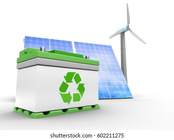 3d illustration of solar and wind energy over white background with car battery