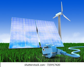 3d illustration of solar and wind energy over meadow background with power cable