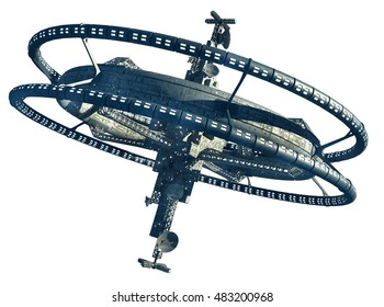 3d Illustration of a space station with multiple gravitational wheels for games, futuristic exploration or science fiction backgrounds, with the clipping path included in the file.