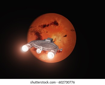 3d illustration of a spacecraft heading to Mars