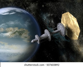 3d illustration of a spacecraft with solar sail near a planet