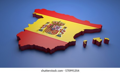 3D illustration of Spain map