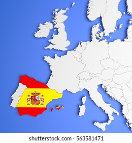 3D illustration of Spain on a european map