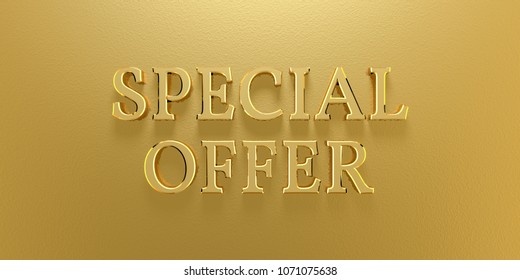 3D Illustration Special Offer Gold Text