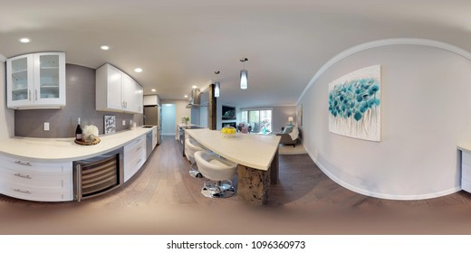 3d illustration spherical 360 degrees, a seamless panorama of white compact kitchen in modern studio apartment.