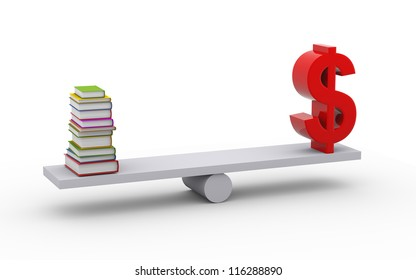 3d illustration of stack of books and dollar symbol on scale