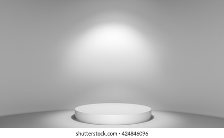 3D illustration of stage with podium and light. Template for design