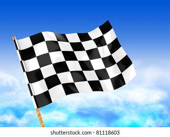 3d illustration of start flag over blue sky background