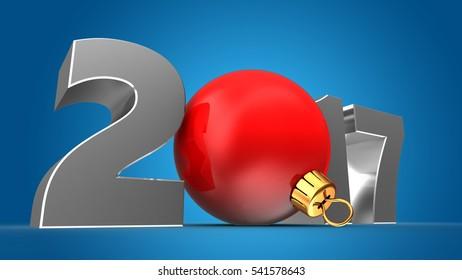 3d illustration of steel 2017 year sign over blue background