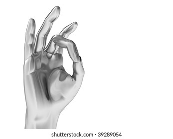 3d illustration of steel palm with okay gesture