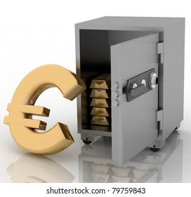 3d illustration of steel safe with euro sign outside