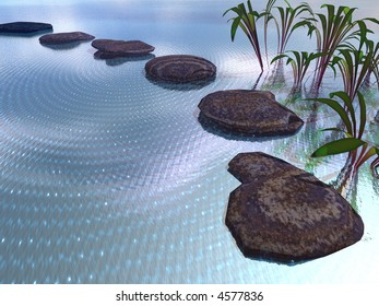 3d illustration of stepping stones in a pond