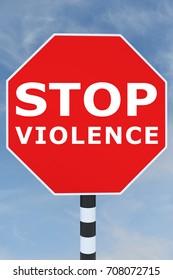 """3D illustration of """"STOP VIOLENCE"""" title on road sign"""