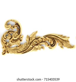 3d illustration stucco decoration, gold cartouche