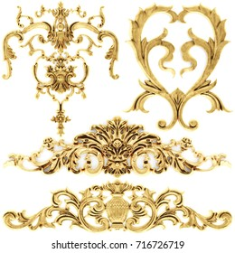 3d illustration stucco decoration, gold cartouche on a white background