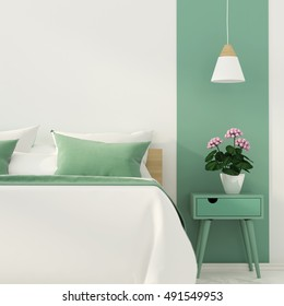 3D illustration of stylish bedroom with a focus on a green color