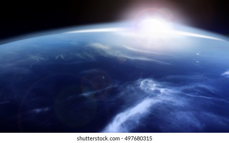3D illustration of sunrise over the horizon