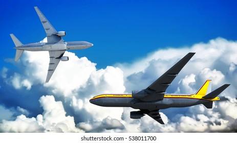 3d illustration of sunset and passenger plane