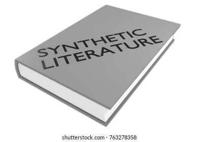 """3D illustration of """"SYNTHETIC LITERATURE"""" script on a book, isolated on white."""