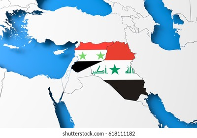 3D illustration of Syria and Iraq map