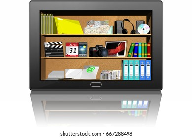 3D illustration. Tablet application software programs. Tablet isolated on white background.
