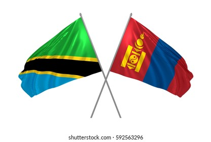 3d illustration of Tanzania and Mongolia crossed state flags waving