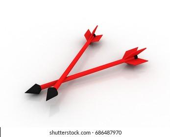 3d illustration target arrows