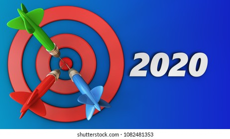 3d illustration of target circles with 2020 year sign over blue background