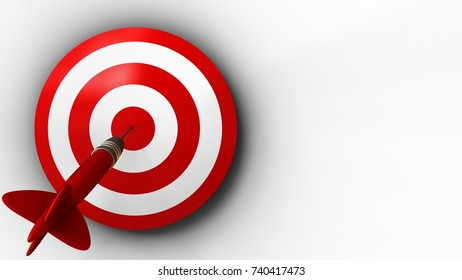 3d illustration of target with dart over white background
